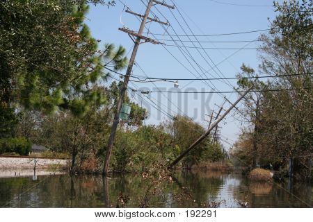 Downed Power Lines From Hurricane Katrina In New Orleans