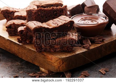 Brownie Stack, Chocolate Cake On Rustic Wooden Board
