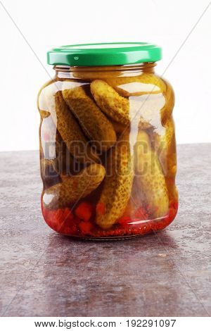 Jar With Variety Of Pickled Vegetables. Carrots, Field Garlic, C