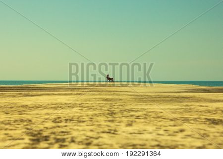 A lonely person on a empty pier on a wide-angle ocean background