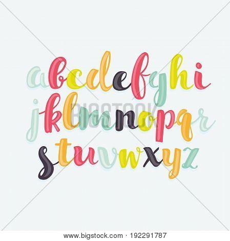 Colorful vecto bubble-shaped letters hand drawn set. Lower case cute alphabet
