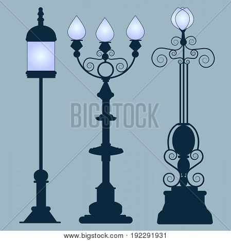 Collection street lamps Art Nouveau style isolated gray background. Figured forged street lights. Vector design classic lamps.Street decorative forging blue light. Set vintage garden lamps.