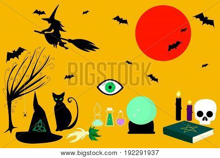 Collection witches tricks. Witch craft kit consisting spellbook mandrake magic ball pointed hat black cat broom sorceress silhouette bats spiders candles. Vector illustration Halloween.
