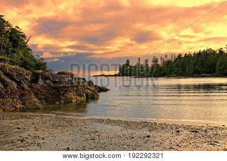Sunset along the coast of Pacific Rim National Park Vancouver Island BC Canada