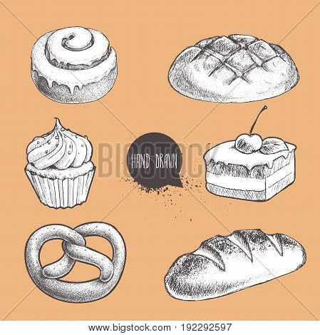 Vintage hand drawn sketch fresh style bakery set. Bread cupcake with cream cake with cherry german pretzel and fresh loaf.