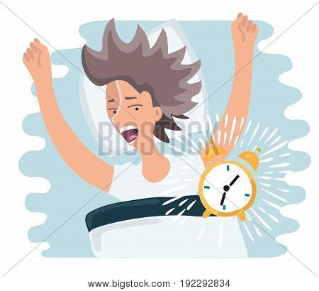 Vector cartoon illustration of slept through woman woke up, the alarm clock is ringing, woman screaming