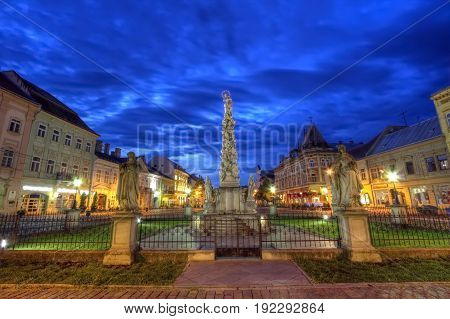 Statue of Immaculata in Kosice by night, Slovakia, HDR