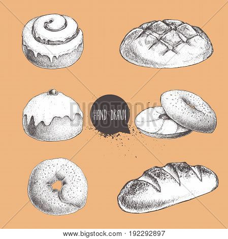 Vintage hand drawn sketch fresh style bakery set. Bread iced bun cinnamon iced bun bagel with sesame and bagel with cream cheese and bread loaf.