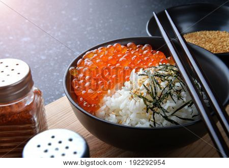 Salmon Eggs Or Ikura In Japanese Style.