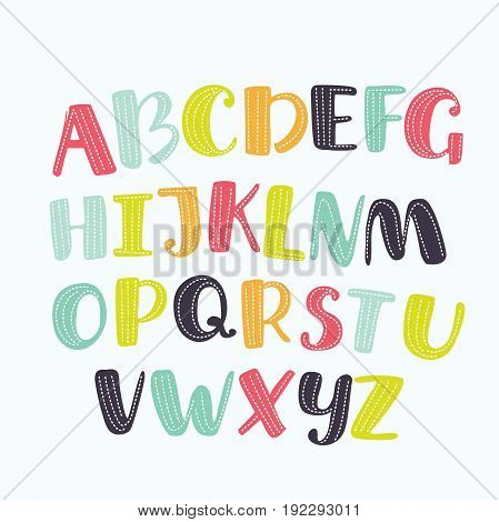 Vector cartoon alphabet white background. Upper letters with dotted line. Cute abc design for book cover, poster, card, print on baby's clothes, pillow etc. Colorful letters composition.