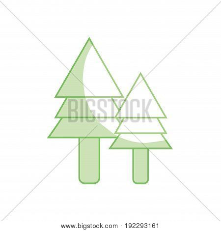 silhouette natural pine trees botany icons vector illustration