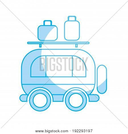 silhouette van transportation with bags to travel vector illustration