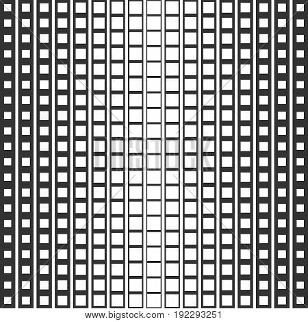 Abstract seamless pattern of squares. A smooth transition from one form to another. Monochrome image.