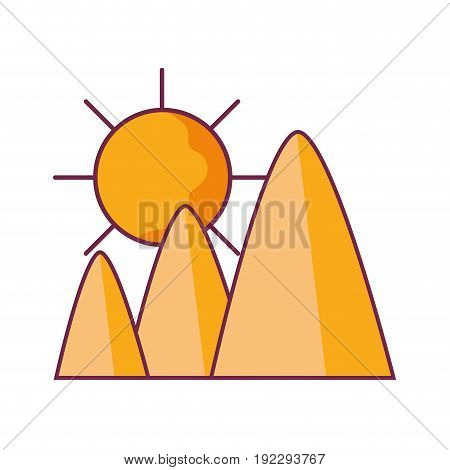 mountains in the desert with sun vector illustration