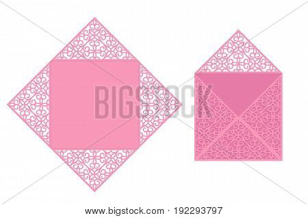 Vector laser cutting template of greeting card for birthday, invitation, wedding and other occasions.