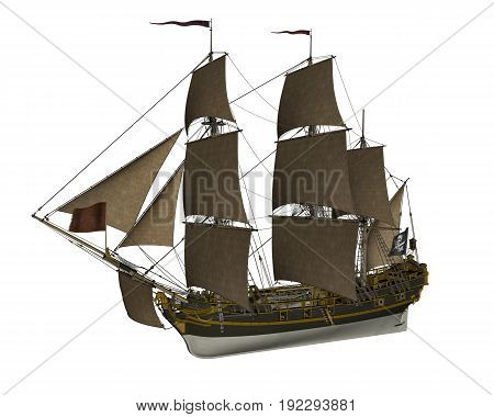 Beautiful detailed Pirate Ship isolated in white background - 3D render