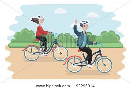 Vector cartoon illustration of couple riding bicycles in public park.