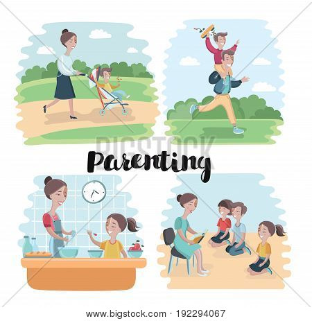 Cartoon vector set of illustration of mother walking on park with stroller with her baby, father run with son in on his shoulders, Woman read book to children sitting at the floor at kinder garden. Mom and daughter cooking at the kitchen