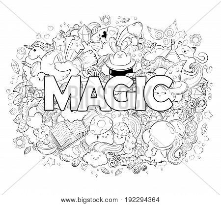 Halloween Concept. Hand drawn cartoon doodle illustration. Magic pattern. illustration for adult coloring book.