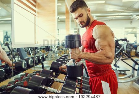 Bodybuilder athlete with dumbbells in the gym.