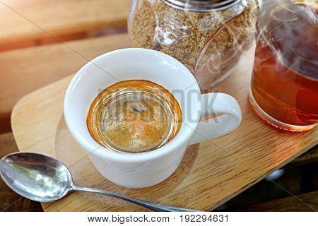 Espresso Coffee  In Small Shot Cup.