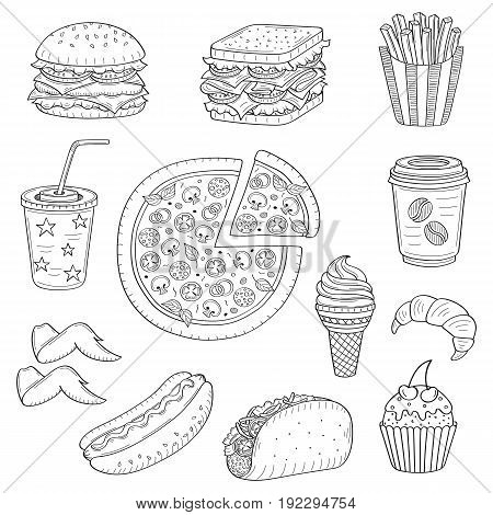 Vector set of fast food hand drawn illustration, with burger, hot dog, pizza, sandwich, hamburger, soda cup, ice cream, French fries, coffee cup, taco, cupcake, croissant isolated on white