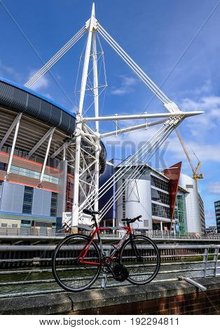 Cardiff Wales - May 21 2017: Millennium Football Stadium with bycycle in foreground.