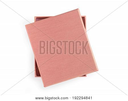 Beige gift box. Isolated on white clipping path included. Top view