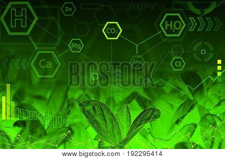 Ecology technology concept - chemical formulas digital wave radial elements & green abstract background