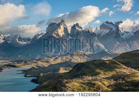 View of Cuernos del Paine from Mirador Condor, Patagonia, Chile