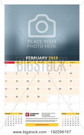 Vector Calendar Planner Template For 2018 Year. February. Vector Design Print Template With Place Fo