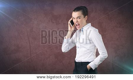 Angry Businesswoman, Standing By Side, Talking By Mobile Phone, Emotional Screaming, Yelling. Isolat