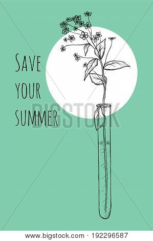 Save your summer. Vector ready design template for organic cosmetic products, handmade natural cosmetics form style.