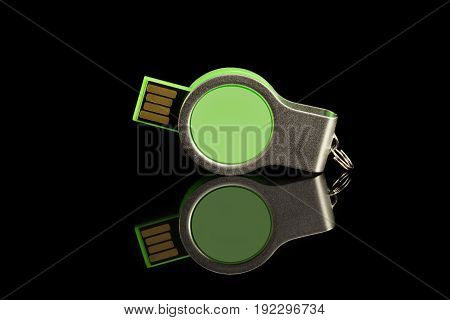 Green Usb Flash Memory On Black Background