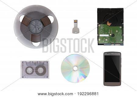Usb Flash Drive Shaped Key, Mobile Phone, Cd / Dvd, Tape, Hard Drive, Analog Tape