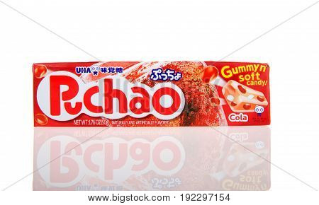 Alameda CA - February 05 2017: 1.76 oz pack of Puchao brand Gummy n soft candy. Cola flavor. Puccho is a chewy Japanese confectionery made and sold by UHA Mikakuto