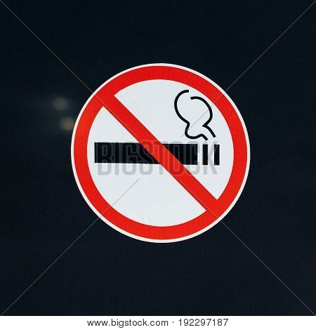 Don't smoke sign on dark or black background