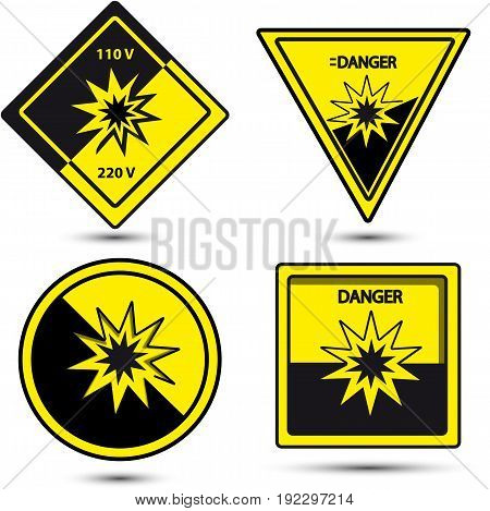 danger sign yellow and black collors