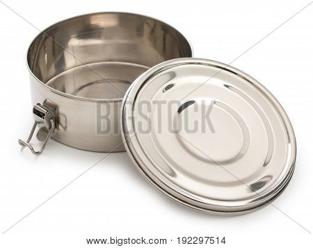 Silver, Chrome Or Nickel Metal Round Box, Container For Food With Open Cover And Latches Isolated On