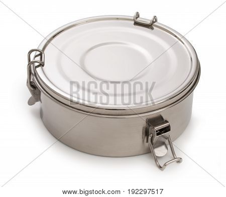 Silver, Chrome Or Nickel Metal Round Box, Container For Food With Closed Cover And Latches Isolated
