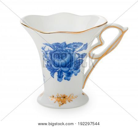 Vintage English Porcelain Tea Cup With Nice Blue And Gold Roses Pattern Isolated On White Background
