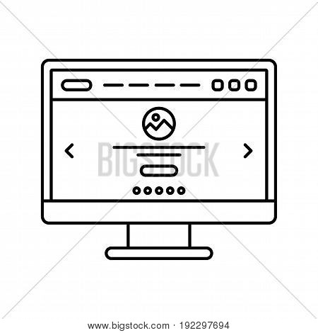 Website user interface. Landing page line icon. Web page in pc screen.