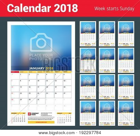 Vector calendar planner template for 2018 year. Vector design print template with place for photo. Week starts on Sunday. 3 months on page. Stationery Design