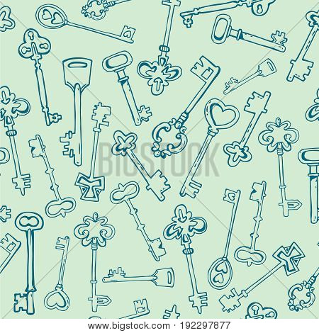 Seamless pattern with vintage keys. Background for clothes