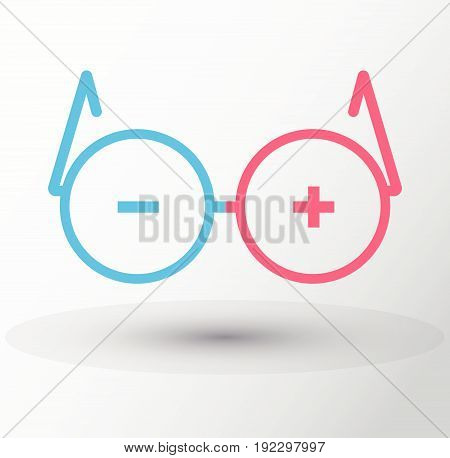 Vector Round Glasses Icon Symbol plus minus