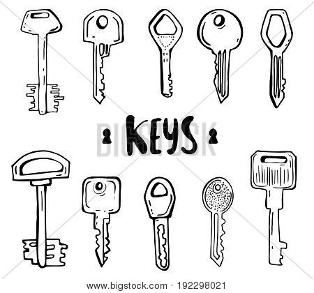 Vector set of hand-drawn keys. Illustration in sketch style on white background. Old design
