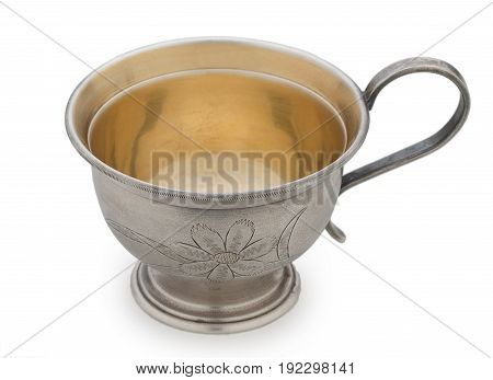 Vintage Silverware Very Old Rich Decorated Metal Cup For Coffee Isolated On A White Background Close