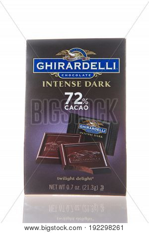 Alameda CA - February 22 2017: 0.7 oz pkg of Intense Dark Ghiradelli chocolate. The Ghirardelli Chocolate Company was incorporated in 1852 and is the third oldest chocolate company in the U.S.