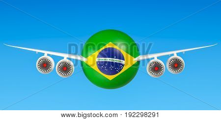 Brazilian airlines and flying's flights to Brazil concept. 3D rendering