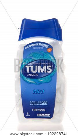 Alameda CA - February 22 2017: Container of Tums brand Calcium Carbonate Antacid. Mint flavor. It works by neutralizing acid in the stomach.